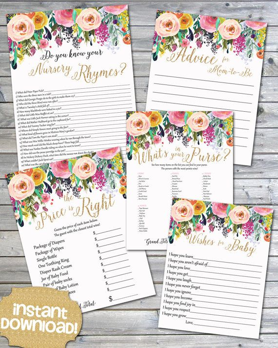 Instant Download Watercolor Floral Printable Baby by JanePaperie