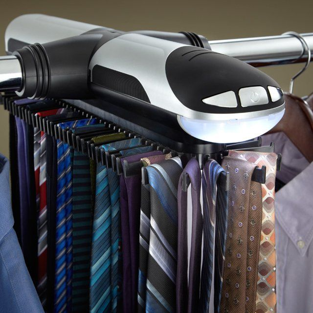 Updated with a modern new style, this Motorized Tie Rack is the effortless way to eliminate clutter by organizing all your ties and belts on one rack. When you need to pick out the perfect tie, just press one of the two buttons for motorized circulation to move your ties and belts forward or backwards.