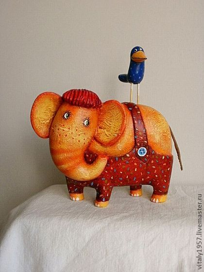 Игрушки животные, ручной работы. Ярмарка Мастеров - ручная работа Я и мой слон, дерево скульптура ручная роспись. Handmade.