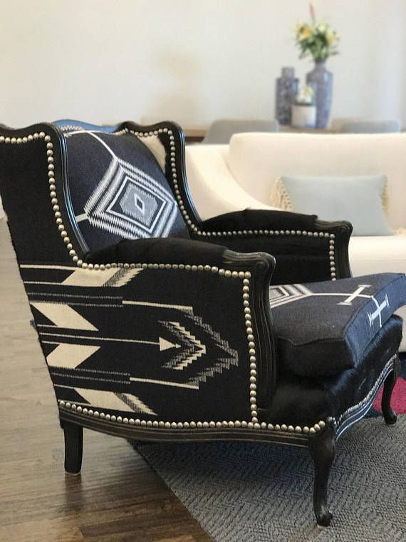Rustic chair Restored black and white vintage arm chair