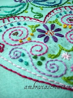 Learning Embroidery, I've been wanting to learn lately because I'm about to create some fabric swatch pieces for my kitchen walls--embroidery will make it even more interesting.