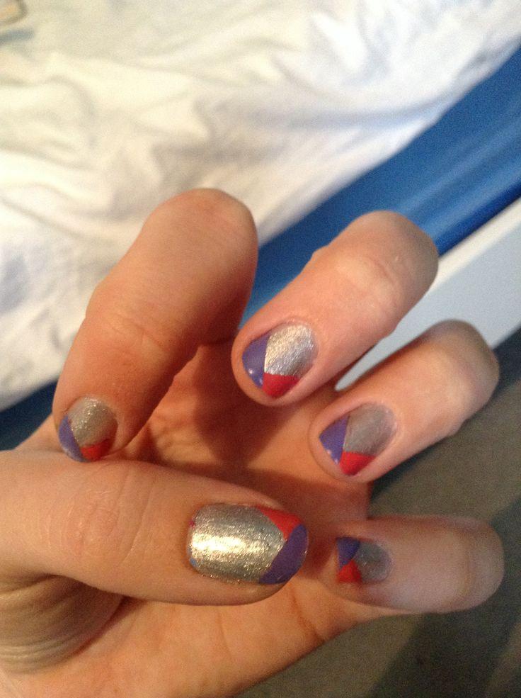 Silver pink and purple nail art