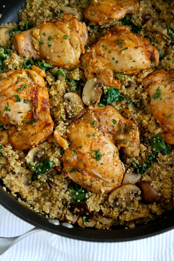 In this easy one pot chicken recipe, chicken, quinoa, mushrooms and spinach nestle together for a healthy meal with minimal clean-up.