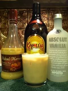 Pumpkin Mudslide-    Equal parts  Pumpkin Spice Schnapps or Fulton's Harvest Pumpkin Pie Cream Liqueur  Kaluha  Vanilla Vodka  Splash of milk (however much or little as you like)    Shake with ice and enjoy!!