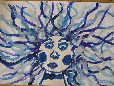 Paní Zima - malba temperovými barvami