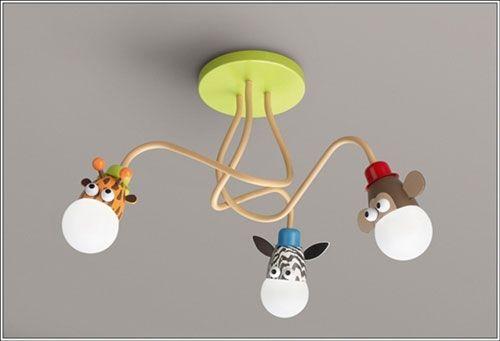 Lampadario per la cameretta di bambini con luci a forma di giraffa, zebra e scimmia