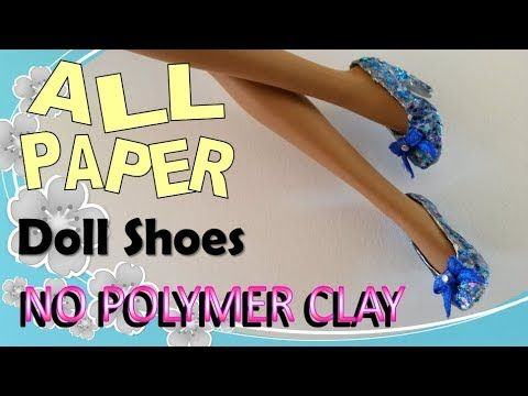 How to Make Doll Shoes Entirely from Paper – No Polymer Clay, Paper Doll...