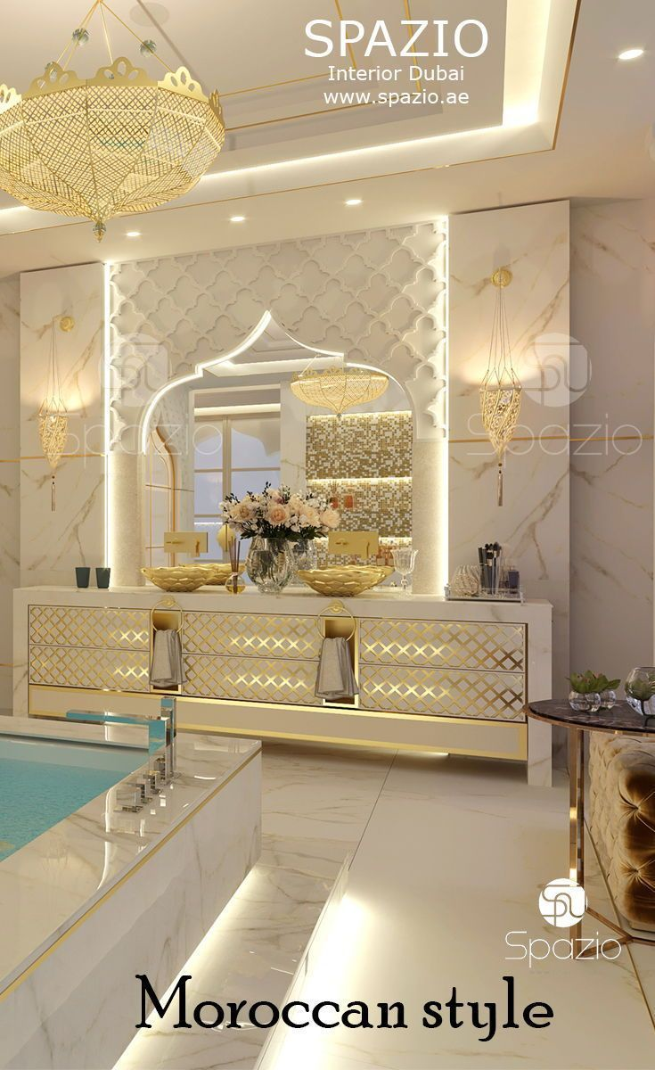 Luxury moroccan bathroom decor and design for private house the design is created by spazio interiro decoration in dubai bathroominterior bathroomdesign