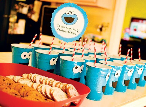 Cookie Monsters Milk and Cookies! Colorful DIY Sesame Street Birthday Party