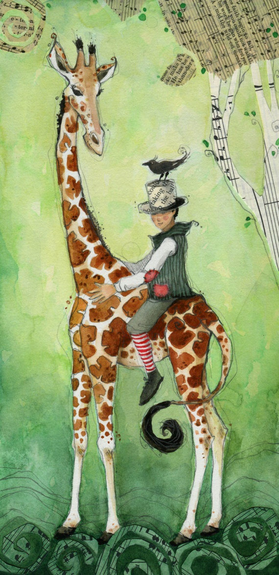 Print // giraffe and boy // High He Rode //  by TheArtofMichelle, $25.00 // circus boy and giraffe
