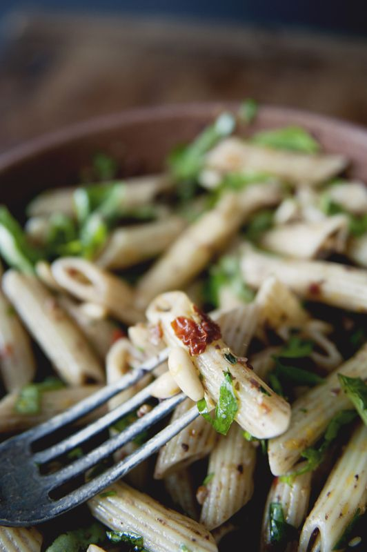 Penne Pasta Salad with Olive Tapenade, Fresh Herbs and Pine Nuts | The Kitchy Kitchen