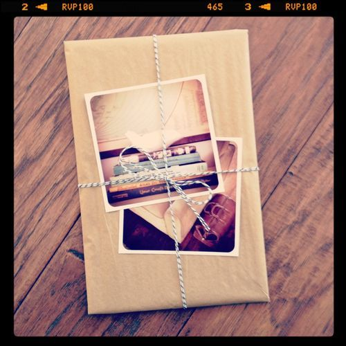 Instagram prints over plain brown wrapping...