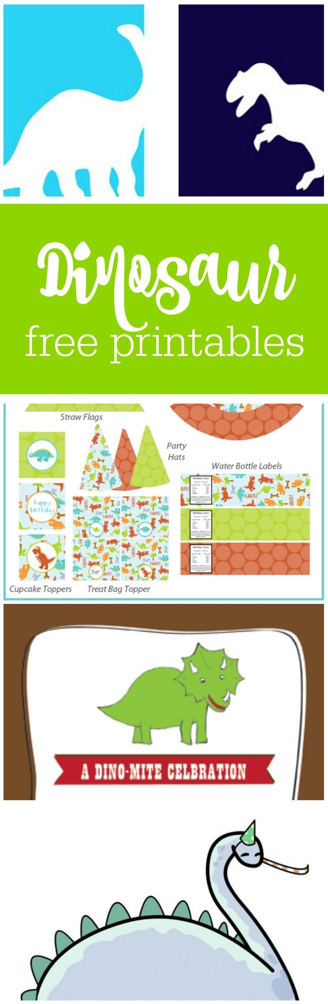 Free dinosaur party printables curated by The Party Teacher   http://thepartyteacher.com/2013/10/25/freebie-friday-free-dinosaur-party-printables/