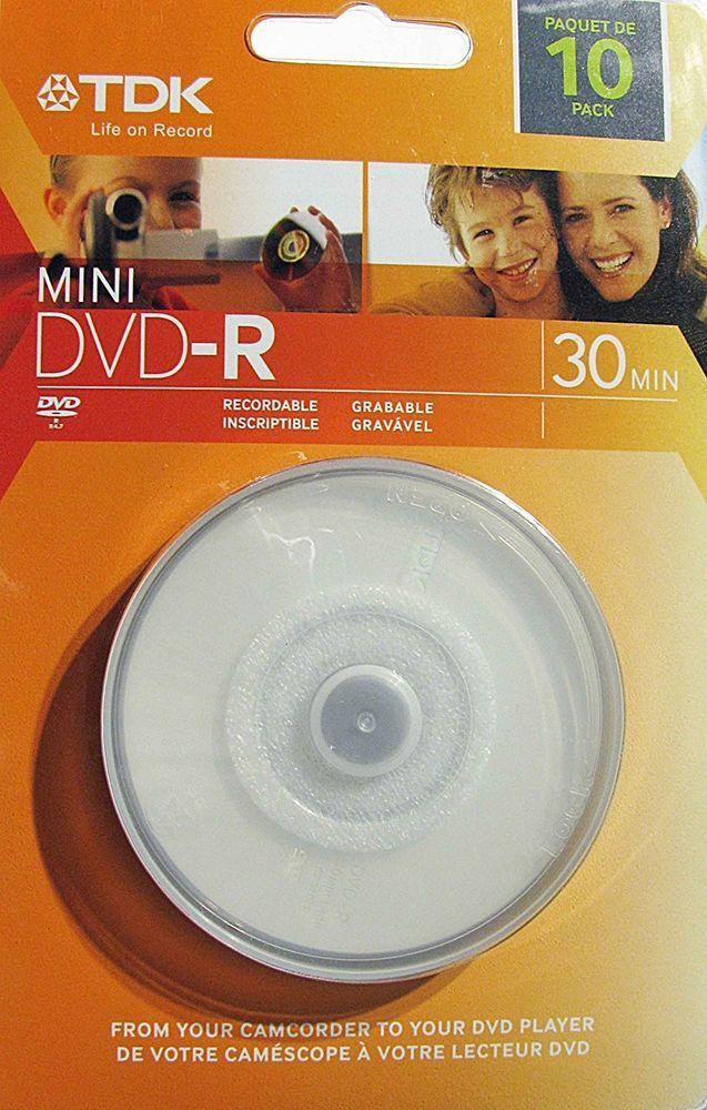 TDK Mini DVD-R 10 Pack---NEW, FACTORY SEALED!! #TDK