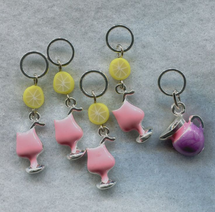 Pink Lemonade Knitting Stitch Markers Lemon Citrus Slice Set of 5/SM113 from GloriaPatreSpinNKnit on Etsy Studio