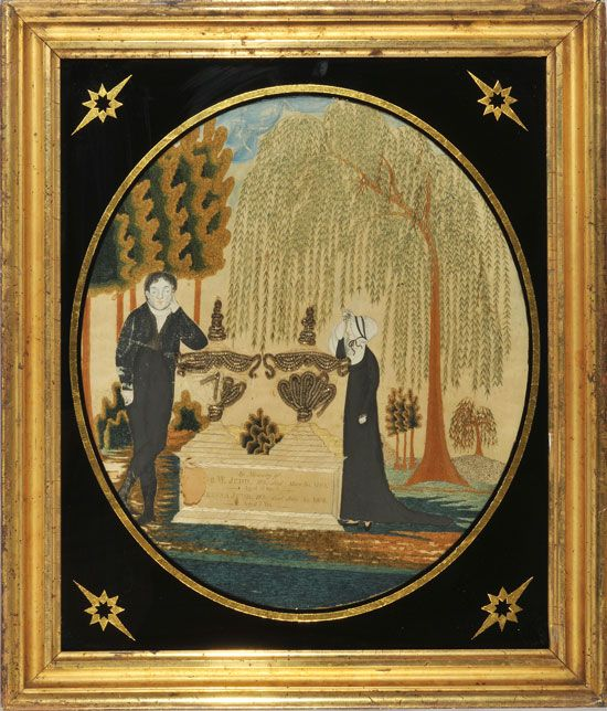 Judd family needlework memorial South Hadley, Massachusetts circa 1810   Silk embroidered memorials were very popular in the early nineteent...