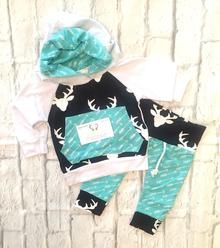 Baby Girl Clothes, Baby Boy Clothes, Baby Deer Sweat Pants Set, Deer Clothing, Baby Deer Clothing, Baby Deer Pants, Deer Baby Pants, Teal Blue and Navy Blue Deer Pants Set, Deer Baby Clothes, Baby Hunting Clothing - BellaPiccoli