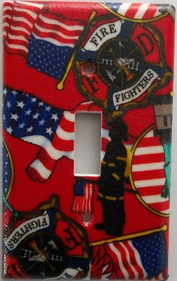 Fire Fighter American Heros Light Switch Outlet Plate Decor Department Fireman. Different plate styles available.