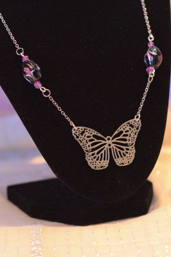 Pink Bead Butterfly Pendant and Earrings Allergy by BeyondtheWire, $22.95