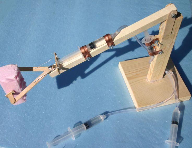 Wooden Arm With Syringe : Hydraulic arm use syringes aquarium tubing wood kids