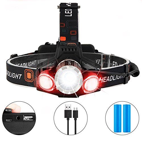 Zukvye Rechargeable LED headlamp, Super Bright LED 6000 Lumen Zoomable Waterproof red Headlight Flashlight for Cycling, Running, Dog Walking, Camping, Hiking, Fishing, Night Reading and DIY Works. For product & price info go to:  https://all4hiking.com/products/zukvye-rechargeable-led-headlamp-super-bright-led-6000-lumen-zoomable-waterproof-red-headlight-flashlight-for-cycling-running-dog-walking-camping-hiking-fishing-night-reading-and-diy-works/