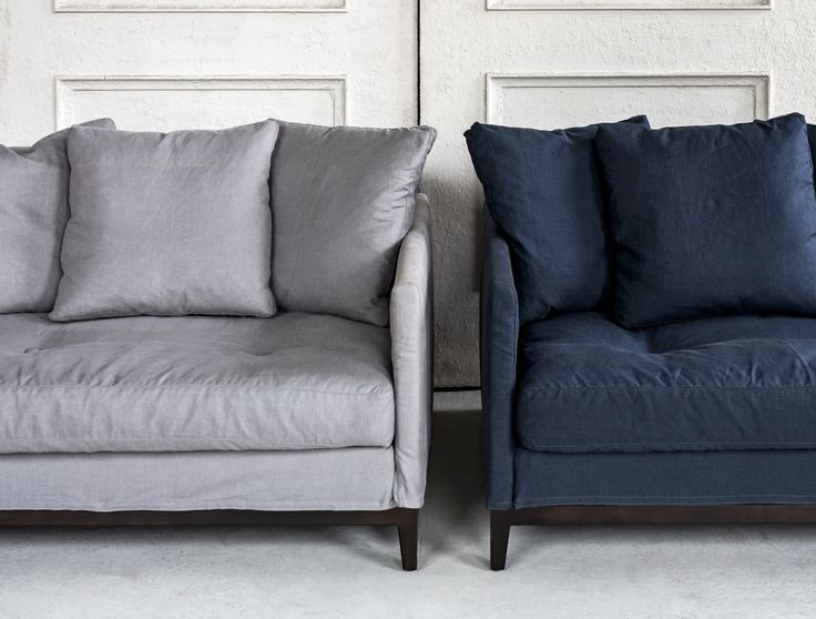 The Banjo loveseat is 1180 W. x 580 H. x 950 D. It features a removable cover made from 100% Italian linen available in 2 colours. The Frame is a solid timber construction.