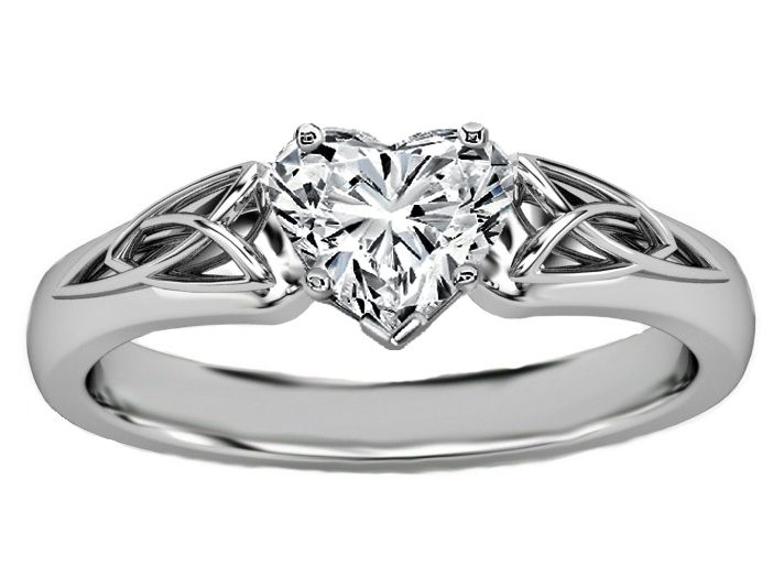 Engagement Ring -Heart Diamond Triquetra Celtic Engagement Ring in 14K White Gold-ES835HSWG