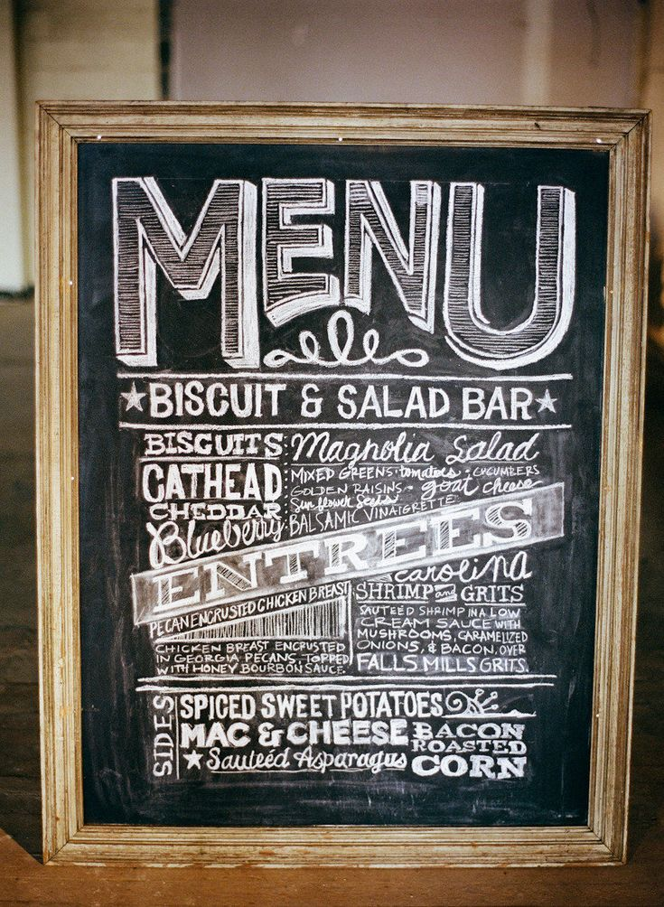 #chalkboard #menu signage | Photography by austingros.com  Read more - http://www.stylemepretty.com/2013/08/21/florence-alabama-wedding-from-austin-gros/