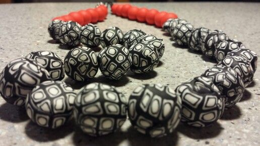 necklace with polymer clay by irene athanasiades
