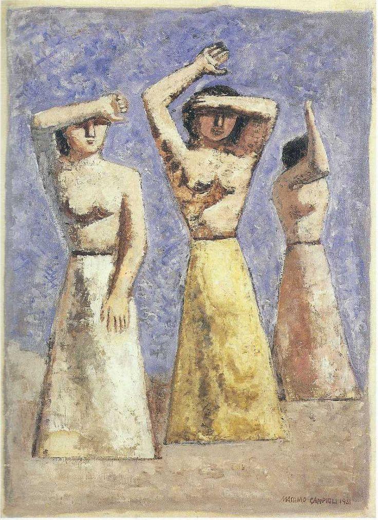 Massimo Campigli (Max Ihlenfeldt) (1895-1971, Italy; symbolism) | Women in the Sun, 1931