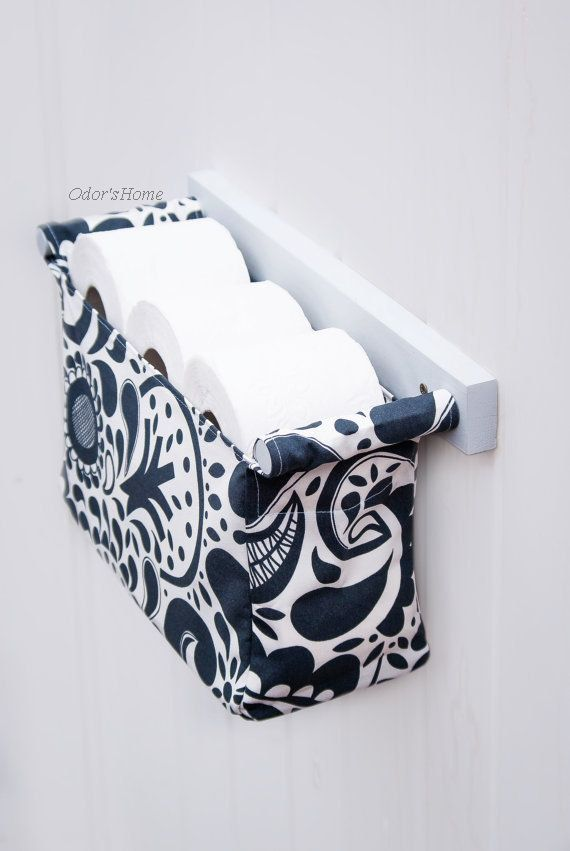 Navy blue patterned toilet paper holder hanging bin by OdorsHome make-don't-buy, sorry independent craftsdudes.