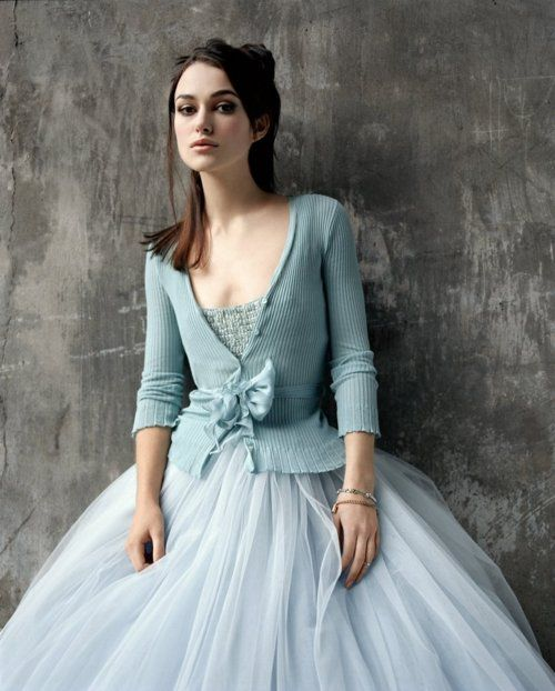 Keira in powder blue.  The tulle skirt and the sweater are an interesting combo that I really like!