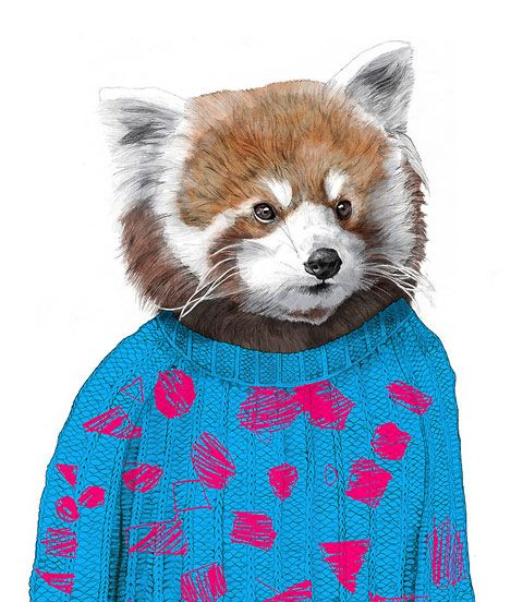 Illustrations of fashionable animals by Jamie Mitchell