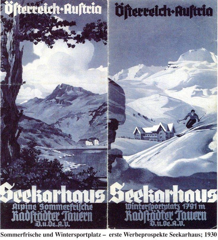 Erste Werbeprospekte für das Seekarhaus als Sommerfrische und Wintersportplatz: 1930