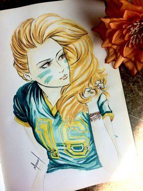 Depois de muito tempo, volto a pintar desenhos em aquarela, que é meu grande amor. Confira o desenho dessa linda torcedora de volumosos cabelos dourados.
