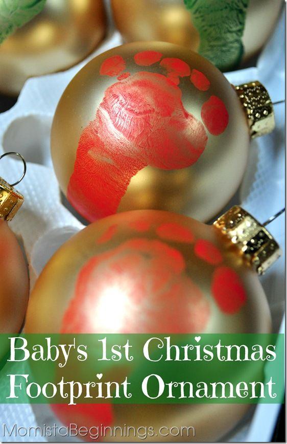 DIY Footprint Ornament. A keepsake from baby's 1st Christmas