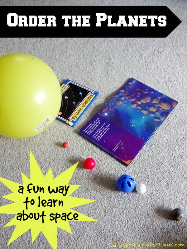 Teach the Solar System! Place the planets in order and make a solar system model and show the universe in your living room.  Materials: Large ball (Sun), pom poms (dwarf planets), 8 smaller balls (planets), and lots of room via Inspiration Laboratories #DIY #STEM #Education