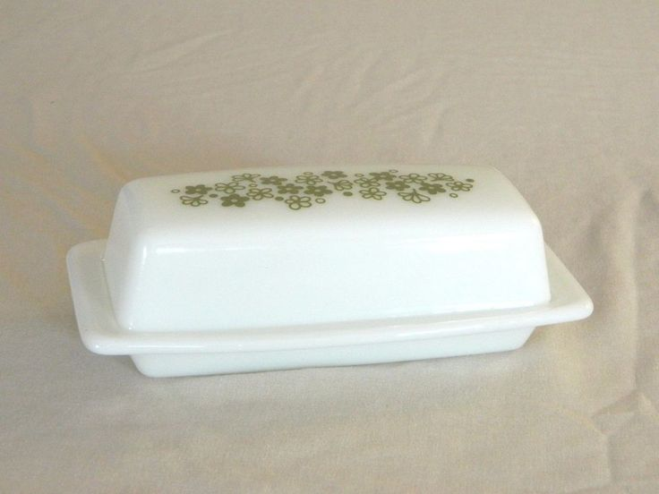 VINTAGE PIREX BUTTER DISHE WITH LID – MILK WHITE GLASS WITH GREEN COLOR FLOWER #PIREX