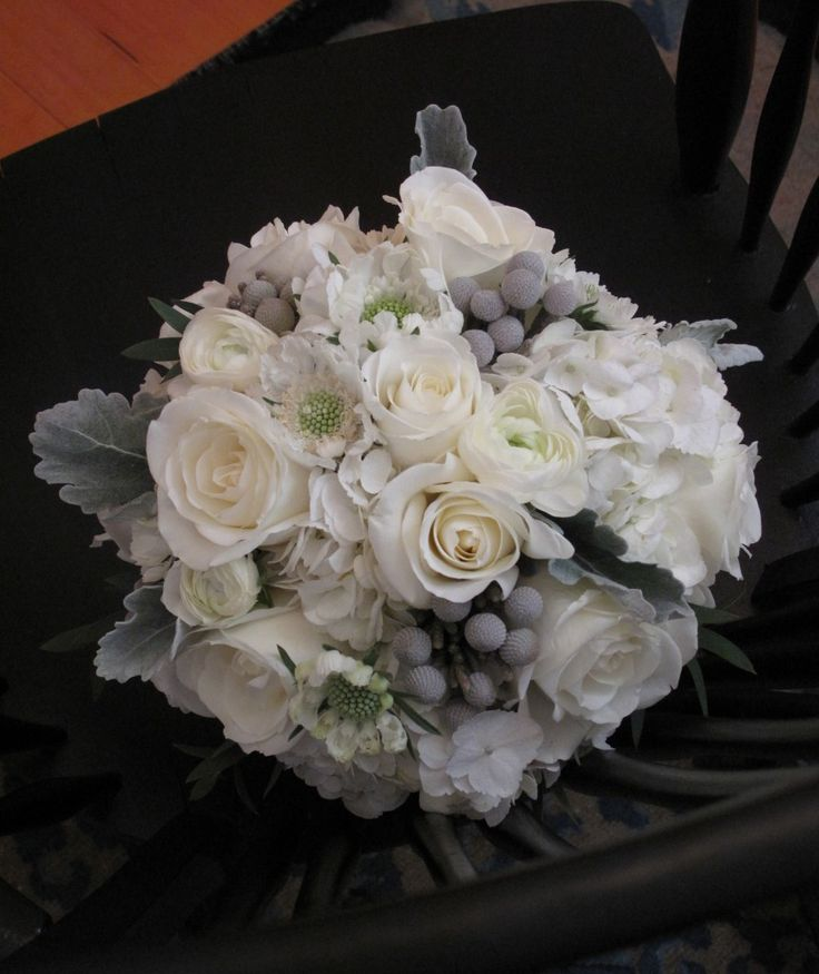 Gray, white and silver wedding bouquet  # Silver Wedding ... Wedding ideas for brides, grooms, parents & planners ... https://itunes.apple.com/us/app/the-gold-wedding-planner/id498112599?ls=1=8 … plus how to organise an entire wedding ♥ The Gold Wedding Planner iPhone App ♥