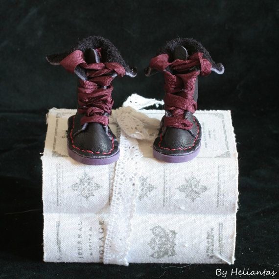 Handmade leather shoes boots for Doll chateau BJD in by heliantas