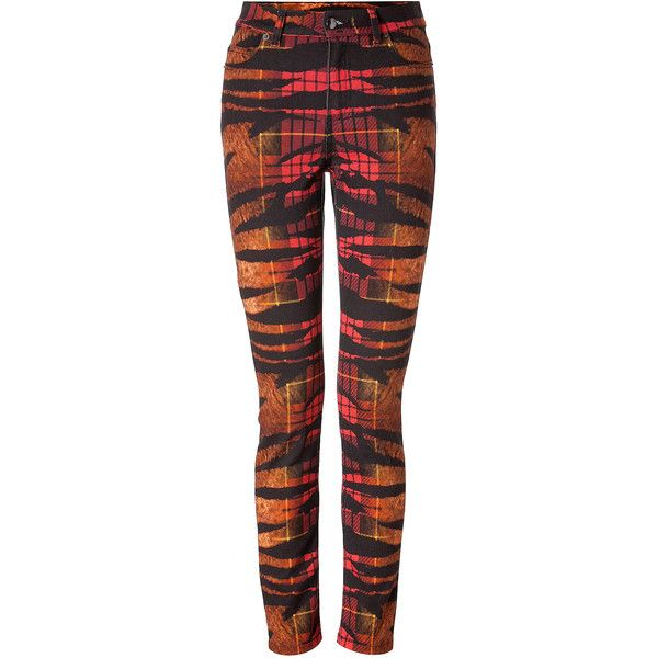 MCQ ALEXANDER MCQUEEN Jeans in Tiger Tartan Degrade ($177) ❤ liked on Polyvore featuring jeans, pants, jeans / pants / leggings, shorts/pants, tartan jeans, slim fit jeans, slim cut jeans, plaid skinny jeans and slim jeans