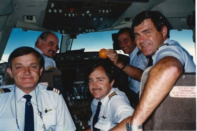 Ansett Australia cockpit crewfie, image Jenny Burrows