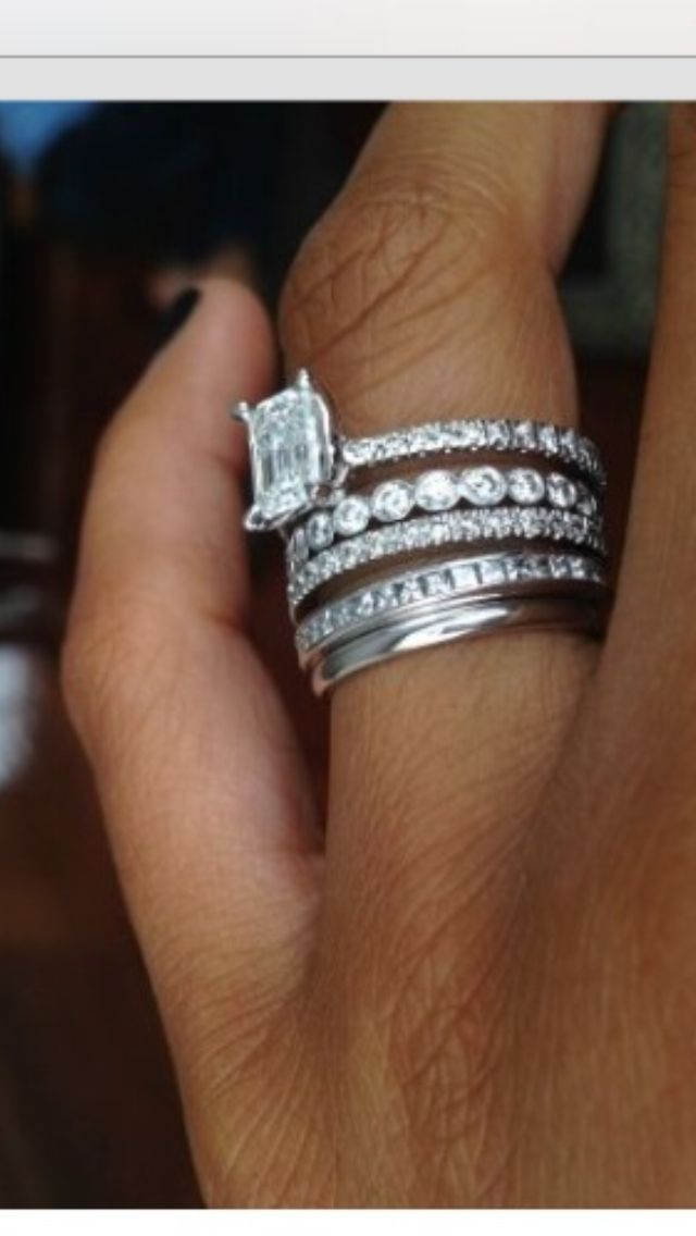 stacked wedding bands with engagement ring pictures to pin on pinterest pinsdaddy. Black Bedroom Furniture Sets. Home Design Ideas