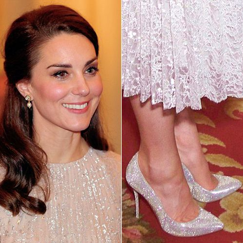 "cambridgeinspiration: ""A closer look upon the sparkly dress and shoes the Duchess of Cambridge wears to the reception in celebration of the UK-India Year of Culture at Buckingham Palace 