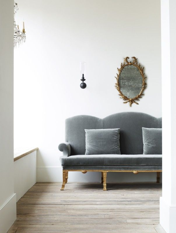 grey velvet settee, neutrals at home