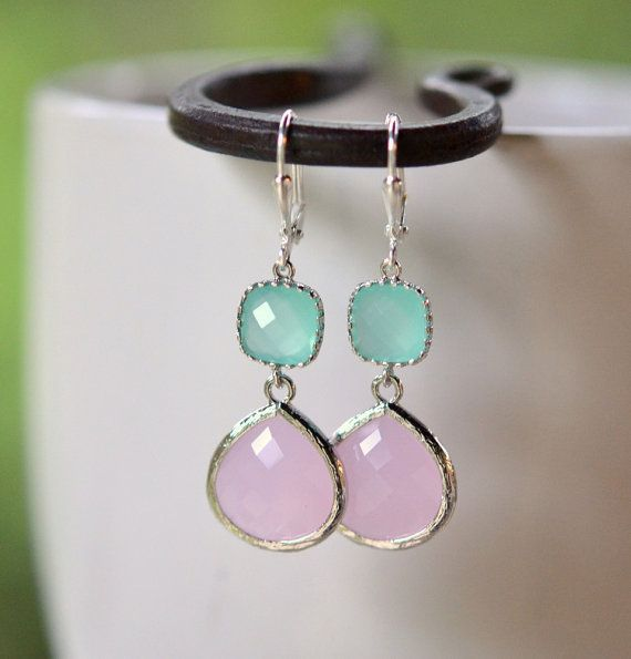 Soft Pink Bridesmaid and Aqua Jewel Earrings by RusticGem.
