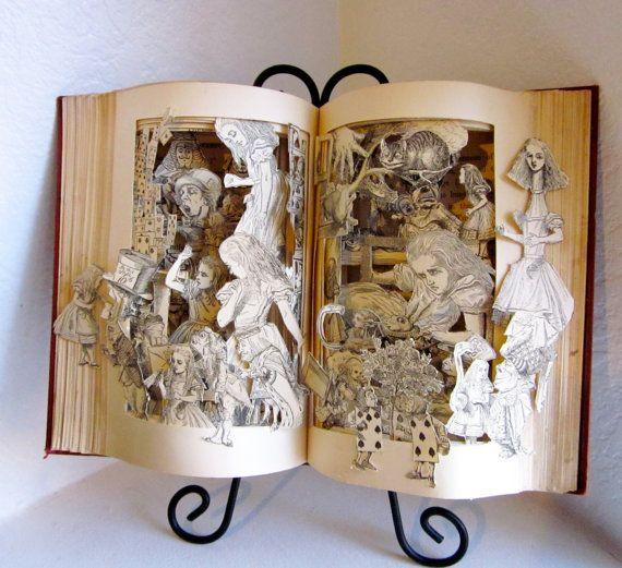 Alice in Wonderland altered book antique repurposed pop up