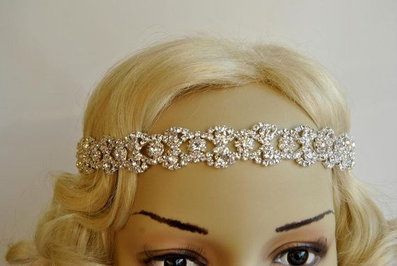 Rhinestone Headband, Bridal Wedding Headband, Crystal Headband, Wedding Halo Bridal tie on ribbon Headband Headpiece, 1920s Flapper headband