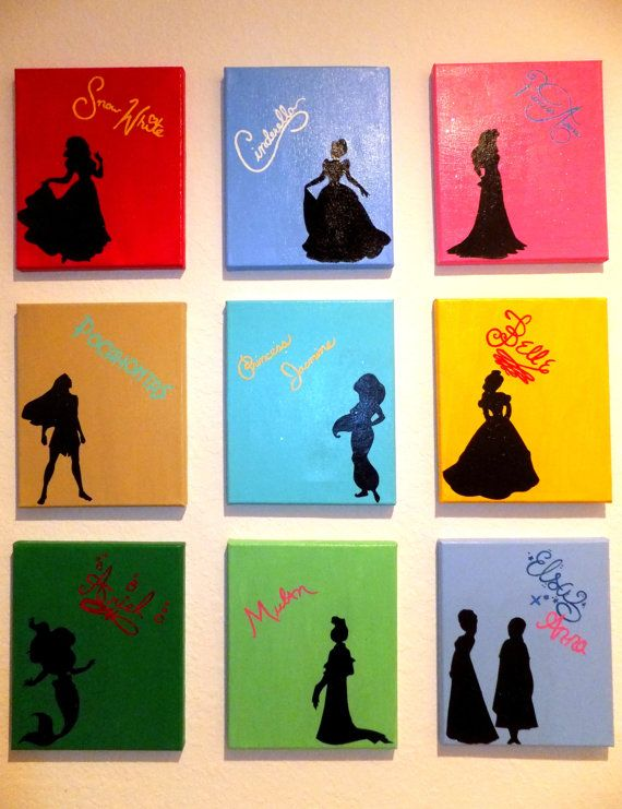 Disney Princess Silhouettes With Hand Painted Signatures By TheGatorPrincess