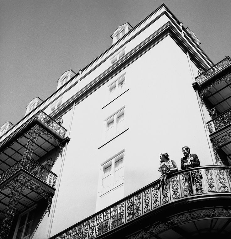 New Orleans wedding, Royal Omni hotel, French Quarter, balcony, film photography, Image by Reg Campbell